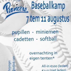 Baseballkamp Pioneers 7 tem 11 augustus