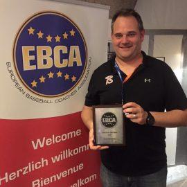 Sven Hendrickx uitgeroepen tot Europees Baseball Coach van het jaar 2016
